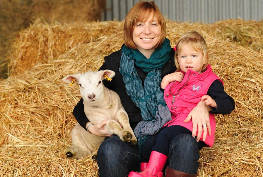 Kate & Maggie McLachlan with Texel lamb